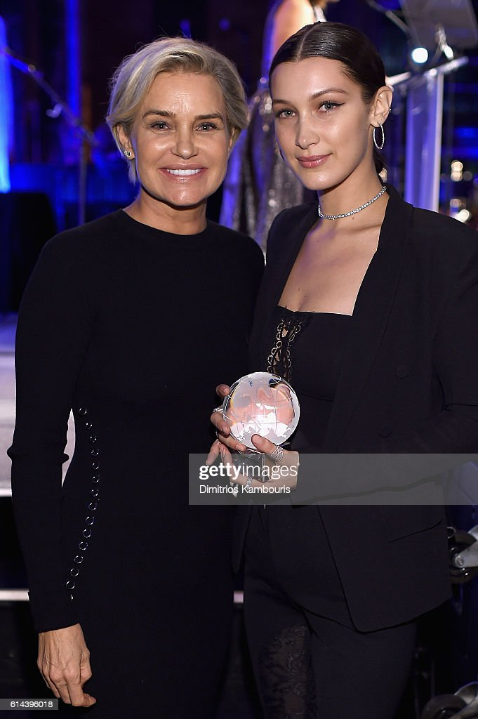 Television personality Yolanda Hadid (L) and honoree Bella Hadid attend Global Lyme Alliance's second annual 'United For A Lyme-Free World' gala on October 13, 2016 in New York City.