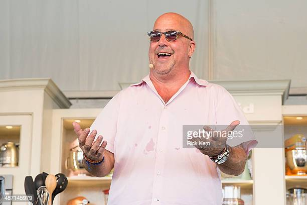 Television personality/chef Andrew Zimmern hosts 'Eggs Eggs' during the third annual Austin FOOD WINE Festival at Butler Park on April 27 2014 in...
