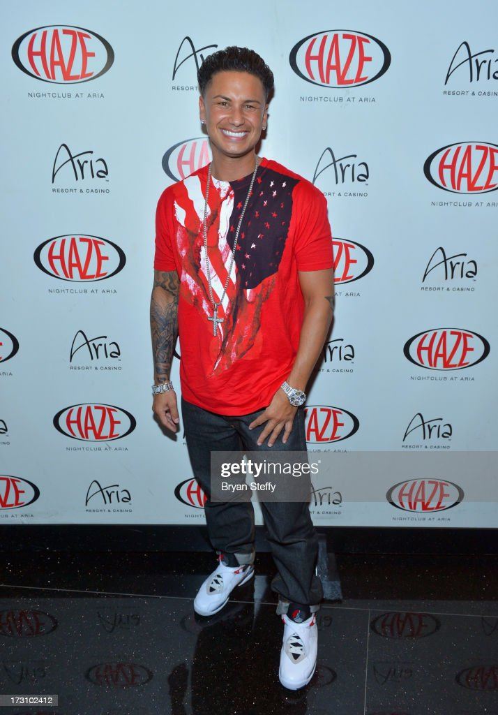 Television personality/DJ Paul 'Pauly D' DelVecchio arrives at Haze Nightclub at the Aria Resort & Casino at City Center to celebrate his 33rd birthday on July 6, 2013 in Las Vegas, Nevada.