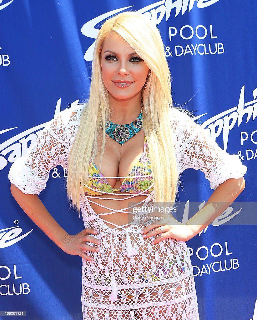 Television personality/model Crystal Hefner arrives at the Sapphire Pool & Day Club grand opening party on May 4, 2013 in Las Vegas, Nevada.