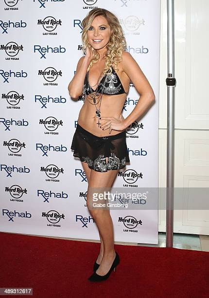 Television personality/model/DJ Crystal Hefner arrives at the Hard Rock Hotel Casino during the resort's Rehab pool party on May 10 2014 in Las Vegas...