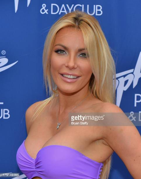 Television personality/model/DJ Crystal Hefner arrives at the Sapphire Pool Dayclub to host Labor Day weekend on August 31 2013 in Las Vegas Nevada
