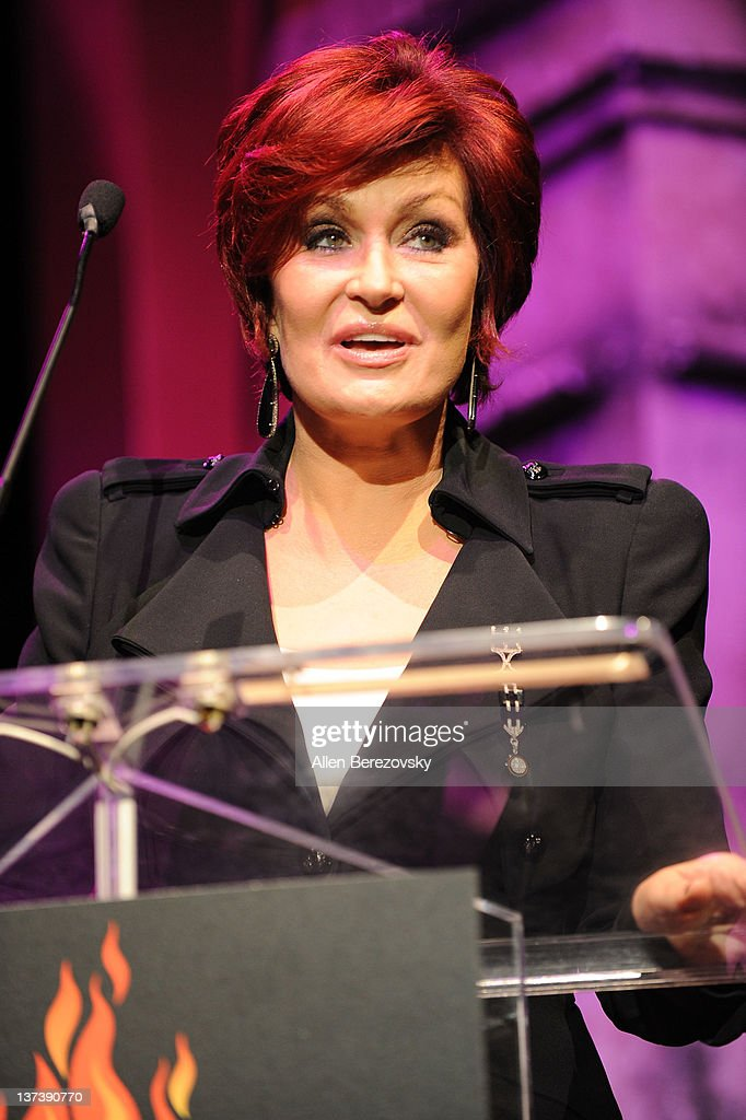Television personality/roastmaster Sharon Osbourne speaks on stage at the Guitar World's Rock & Roll roast of Zakk Wylde at City National Grove of Anaheim on January 19, 2012 in Anaheim, California.