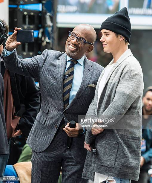 Television personality/weather forecaster Al Roker and Singersongwriter Justin Bieber on stage during NBC's 'Today' Citi Concert Series at the NBC's...