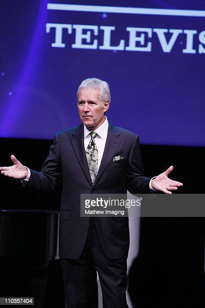 Television personalty Alex Trebek speaks to the audience at the Sony CES booth held at the Las Vegas Convention Center on January 7 2008 in Las Vegas...