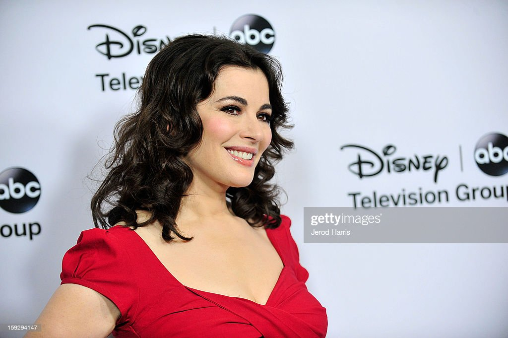 Television personalty Nigella Lawson arrives at Disney ABC Television's red carpet gala at the Langham Huntington Hotel and Spa on January 10, 2013 in Pasadena, California.