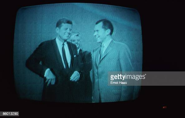 A television picture broadcast in May 1977 of American presidential candidates John F Kennedy and Richard Nixon at a Chicago television studio for...