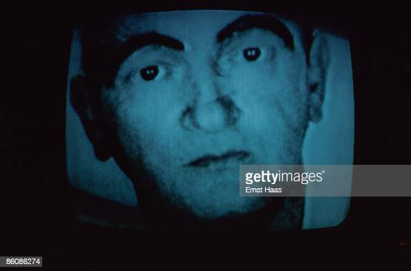 A television picture of a man's face broadcast May 1977