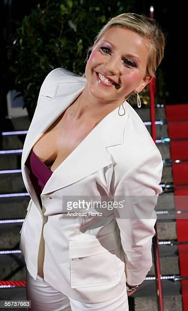 Television presenter Aleksandra Bechtel smiles on her arrival at the Goldene Henne Awards 2005 at Friedrichstadtpalast September 21 2005 in Berlin...