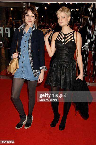 Television presenter Alexa Chung and Pixie Geldof arrive at the UK premiere of 'Shine A Light' at Odeon Leicester Square on April 2 2008 in London...