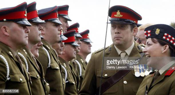 Television presenter and honorary Black Watch colonel Lorraine Kelly inspects officer duties at the Royal Gun salute to mark the Queen's birthday at...