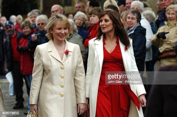 Television presenter Carol Vorderman and actress Kathryn Apanowicz arrive at York Minster for the memorial service to Countdown presenter Richard...