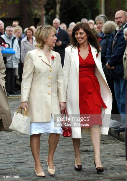 Television presenter Carol Vorderman and Kathryn Apanowicz arrive at York Minster today Thursday November 10 for the memorial service to Countdown...