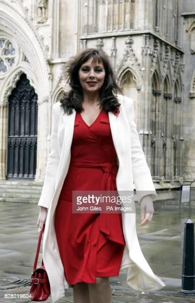 Television presenter Carol Vorderman arrives at York Minster Thursday November 10 for the memorial service to Countdown presenter Richard Whiteley...