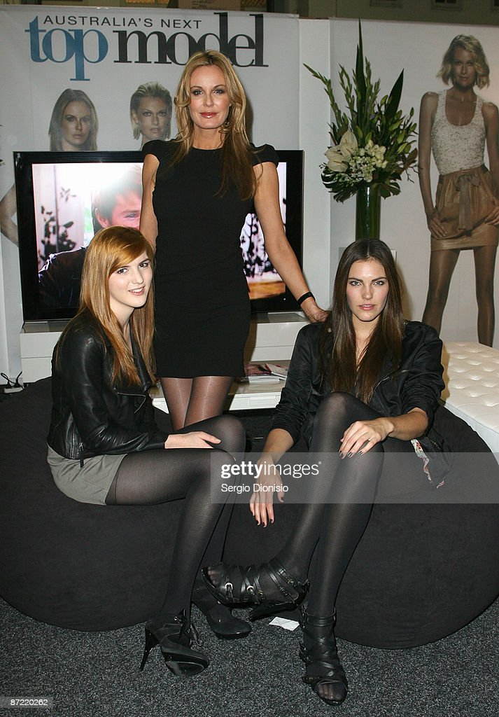Television Presenter Charlotte Dawson poses with models Adele Thiel and Lola Van Vorst of Australia's Next Top Model during the Fashion Weekend...