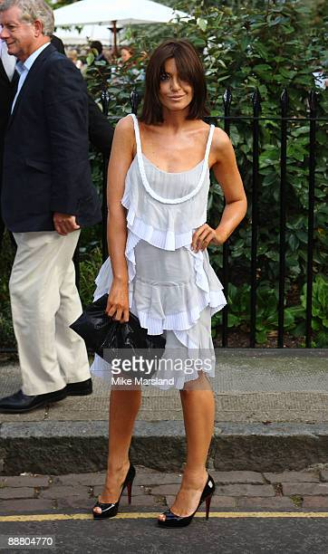Television presenter Claudia Winkleman arrives at Sir David Frost's Summer Party on July 2 2009 in London England