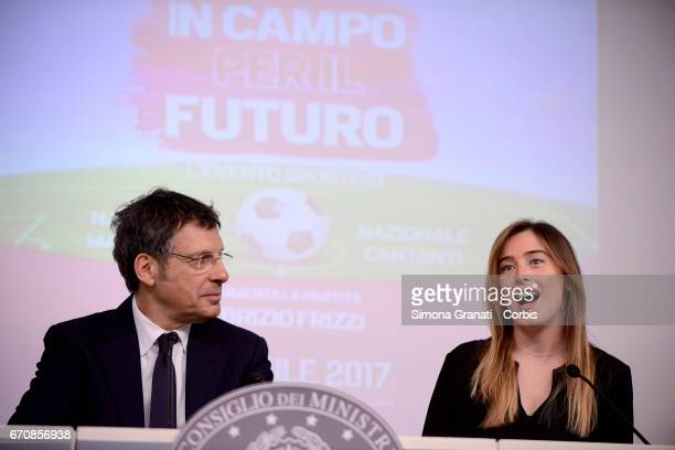 Television presenter Fabrizio Frizzi and the Under Secretary of State and Minister for Equal Opportunities Maria Elena Boschi attend a press...