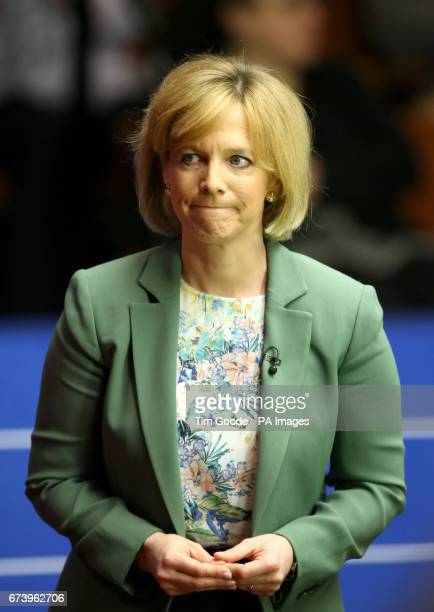 Television presenter Hazel Irvine on day thirteen of the Betfred Snooker World Championships at the Crucible Theatre Sheffield