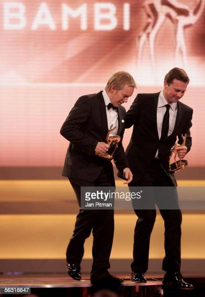 Television presenter Johannes B Kerner and television news anchor Steffen Seibert left the stage at the 57th annual Bambi Awards at the International...