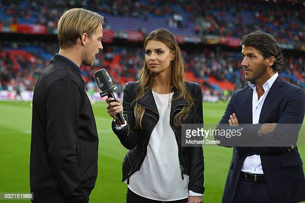 Television presenter Laura Wontorra interviews Timo Hildebrand and KarlHeinz Riedle prior to the UEFA Europa League Final match between Liverpool and...