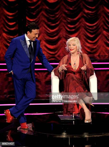 Television presenter Piero Chiaimbretti and Ilona Staller appear on the television show 'Chiambretti Night' at Italia 1 Studios on March 10 2009 in...