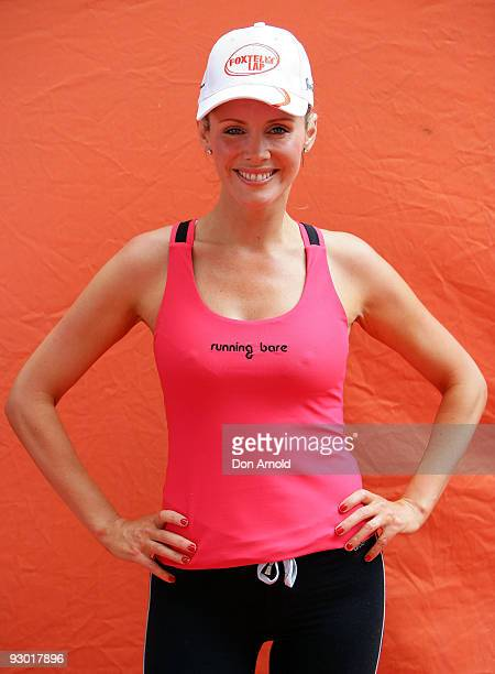 Television presenter Sophie Falkiner takes part in The Foxtel Lap 2009 whereby teams of 20 compete to run or walk as many 100m laps for charity at...