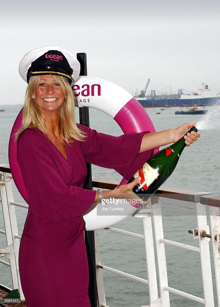 Television presenter Ulrika Jonsson names the ship 'Ocean Village' at Southampton Dock, England, on April 28, 2003. Jonsson named the 63,500 ton, 16,000 passenger cruise liner 'Ocean Village' which is also the name for the P&O's new 'casual' cruising look.