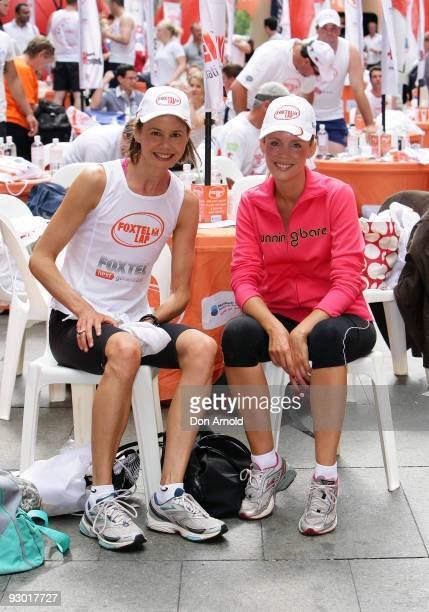 Television presenters Antonia Kidman and Sophie Falkiner take part in The Foxtel Lap 2009 whereby teams of 20 compete to run or walk as many 100m...