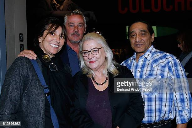 Television producer Anne Marcassus her husband Fabrice le Ruyet actress Josiane Balasko and her husband George Aguilar attend the Coluche Exhibition...