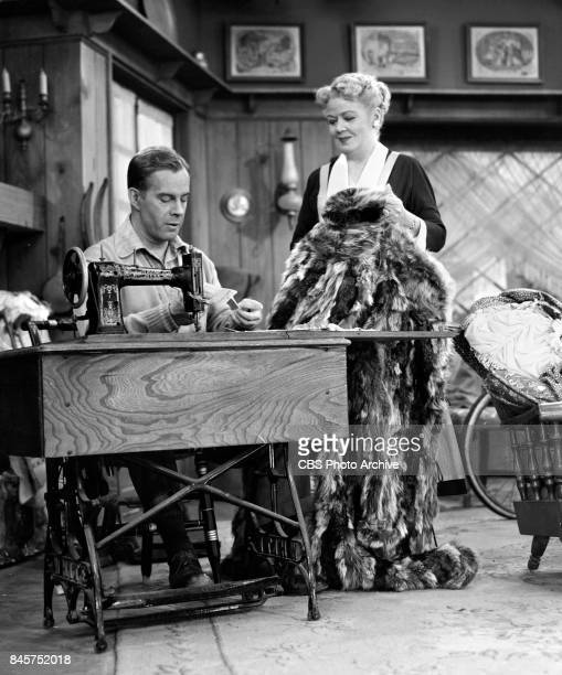 CBS television program December Bride Harry Morgan patches up an old raccoon coat Spring Byington looks on Episode The Grandfather Clock originally...