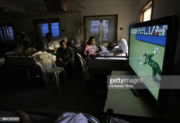 Television put up specially in the general ward of Nanavati Hospital in Vile Parle for patients to watch the IndiaPakistan world cup semifinal match...