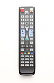Television remote control on a white background