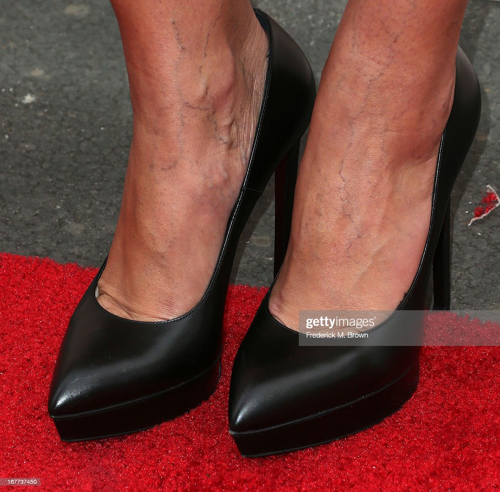 Television reporter <a gi-track='captionPersonalityLinkClicked' href=/galleries/search?phrase=Terri+Seymour&family=editorial&specificpeople=226697 ng-click='$event.stopPropagation()'>Terri Seymour</a> (shoe detail) attends the Academy of Television Arts & Sciences' Presents an Evening with Michael Buble at the Wadsworth Theater on April 28, 2013 in Los Angeles, California.