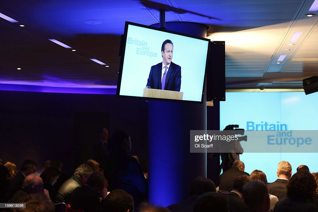 A television screen displays British Prime Minister David Cameron delivering his long-awaited speech on the UK's relationship with the EU on January 23, 2013 in London, England. Mr Cameron has promised a referendum on EU membership should the Conservatives win the next election.
