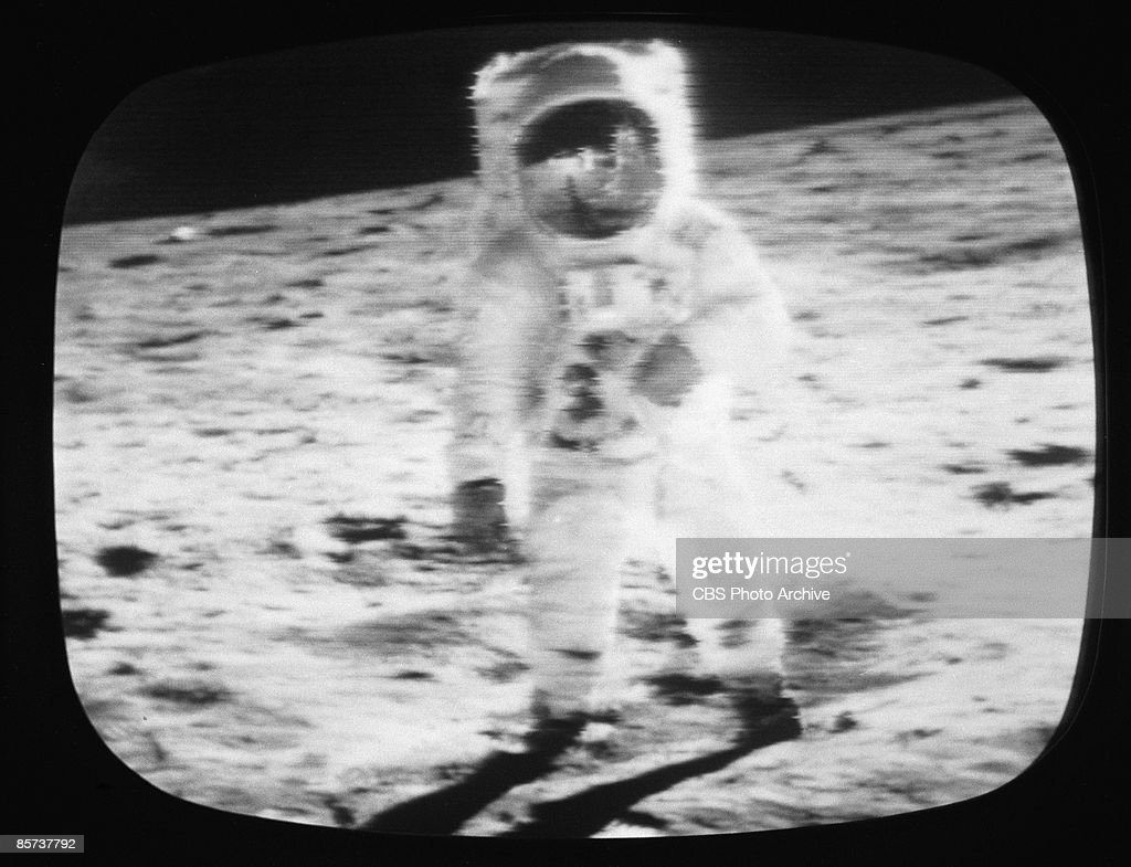 A television screen grab from a CBS News Special Report shows an Apollo 11 astronaut on the moon July 1969