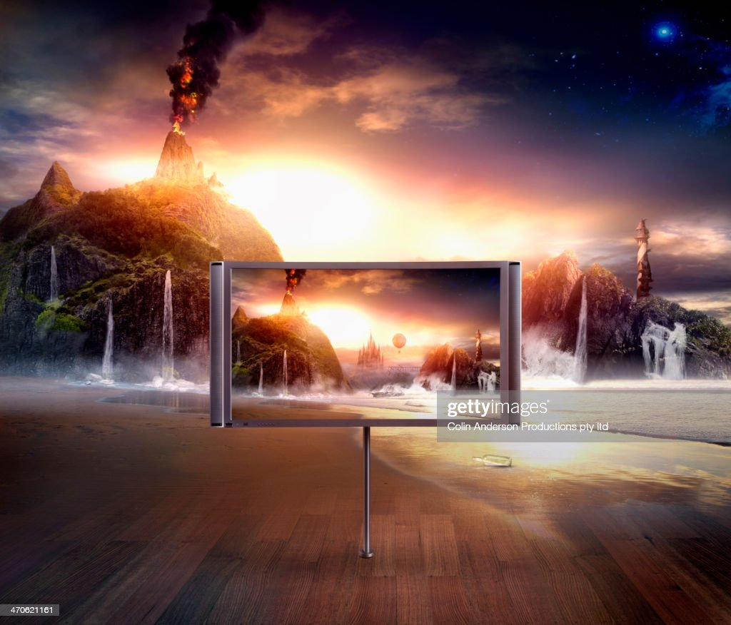 Television screen in dramatic landscape
