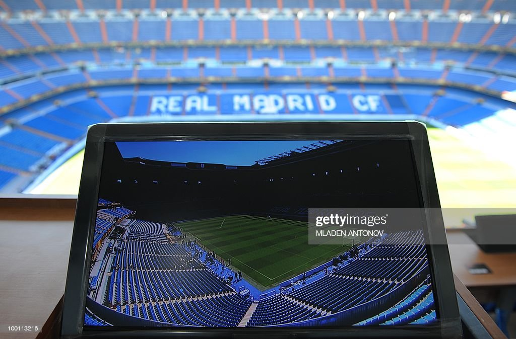 A television screen is pictured at the media tribune of the Santiago Bernabeu stadium in Madrid on May 21, 2010 on the eve of the UEFA Champions League final football match. Inter Milan will face Bayern Munich in the UEFA Champions League final match to be played at the Santiago Bernabeu Stadium in Madrid on May 22, 2010.