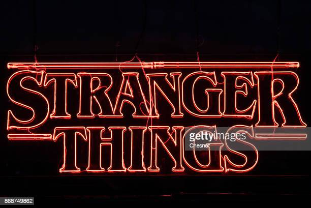 Television series logo 'Stranger Things' is displayed during the 'Paris Games Week' on October 31 2017 in Paris France 'Paris Games Week' is an...