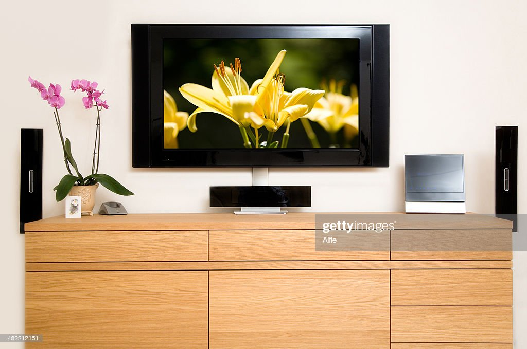 Television set in living room : Stock Photo