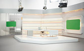 Professional modern television set for news with studio equipment