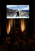 A television shows an advertisement from Hockey Vision Las Vegas during a news conference at the MGM Grand Hotel Casino announcing the launch of a...