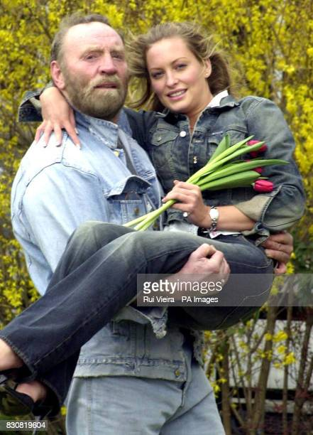 Television stars from the BBC Joanna Taylor and Pat Roach promoting the BBC's new Spring/Summer 2002 Season at Pebble Mill Birmingham Thursday March...