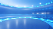 Television studio background for virtual set: empty circular space with blue walls, round elevated stage surrounded by shining lights and reflecting surfaces. Modern design and backdrop for media, bro