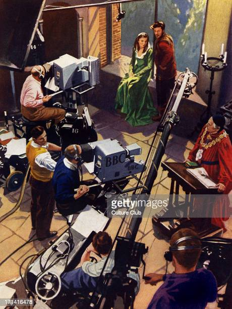 BBC Television studio early 1950s Camera crew boom microphones actors in Shakespearian drama Illustration by unknown artist from The Wonder Book of...