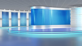 Blue virtual set, ideal for green screen compositing.