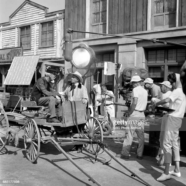 CBS television western Frontier Circus episode Journey From Hannibal Pictured from left is Clem Bevans and Chill Wills on set Image dated June 27 1961