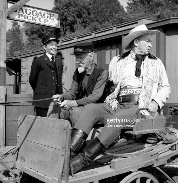 CBS television western Frontier Circus episode Journey From Hannibal Pictured left to right Arte Johnson Clem Bevans and Chill Wills Image dated June...