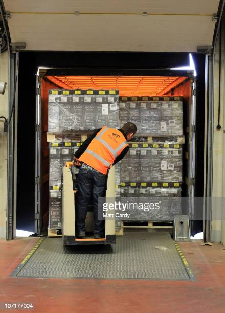 Televisions are delivered to the Amazon Swansea fulfilment centre process orders as they prepare for what is expected to be their busiest Christmas...