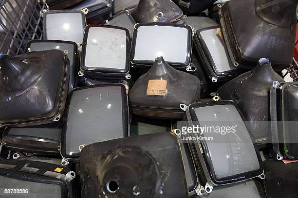 Televisions are seen prior to recycling at the Panasonic Eco Technology Center on July 2 2009 in Kato Hyogo Japan In 2001 Japan enforced the Home...