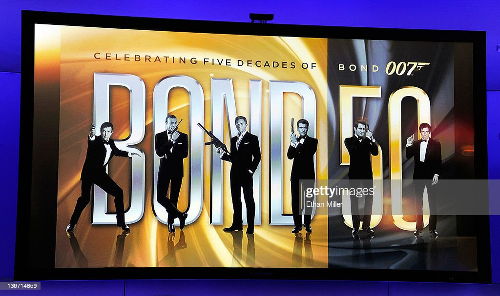 Televisions at the Panasonic booth show an image of all six actors who have played James Bond as MGM Studios and Twentieth Century Fox Home Entertainment unveil 'Bond 50,' a box-set featuring all 22 James Bond films on Blu-ray Disc in celebration of the James Bond franchise's 50th anniversary at the 2012 International Consumer Electronics Show at the Las Vegas Convention Center January 10, 2012 in Las Vegas, Nevada. CES, the world's largest annual consumer technology trade show, runs through January 13 and is expected to feature 2,700 exhibitors showing off their latest products and services to about 140,000 attendees.
